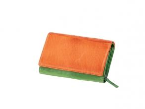 , Portefeuille Mika groen/oranje leer. 15,5x10x4cm