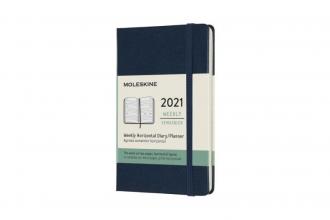 , Moleskine 12 MND Agenda - 2021 - Wekelijks Horiz. - Pocket (9x14 cm) - Sapphire Blauw - Harde Kaft