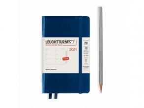 Lt361958 , Leuchtturm agenda 2021 pocket 9x15 9x15 l. ag. r. not. denim blauw