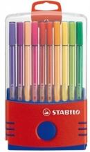 , Viltstift  STABILO Pen 68 ColorParade rood/blauw etui  à 20 kleuren