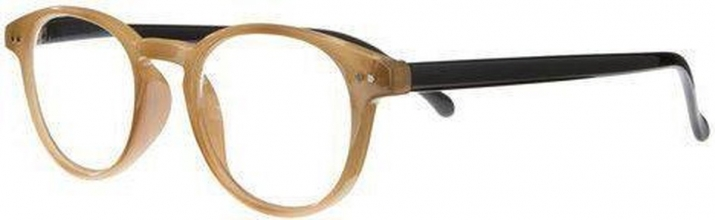 Nck003 , Leesbril rice front, black temples, clear lens, silver detail 1.00