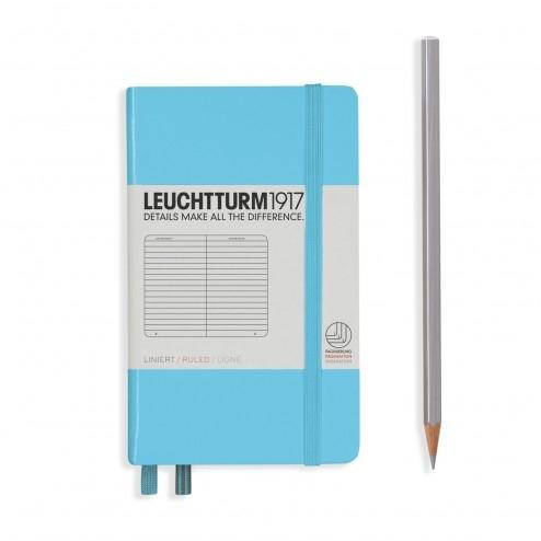 Lt357475,Leuchtturm notitieboek pocket 90x150  lijn ijsblauw