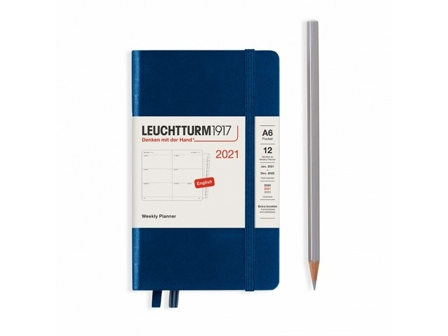 Lt361958,Leuchtturm agenda 2021 pocket 9x15 9x15 l. ag. r. not. denim blauw