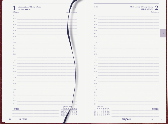 ,Agenda 2022 Brepols Saturnus kort 1dag/1pagina bordeaux
