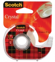 , Plakband Scotch Crystal 600 19mmx25m transparant + afroller