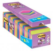 , Memoblok 3M Post-it 654 Super Sticky 76x76mm 21+3 gratis assorti