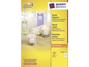 , etiket Avery 60mm rond wit 100 vel 12 etiketten per vel