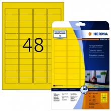 , Etiket Herma 4366 A4 45.7x21.2mm verwijderbaar geel