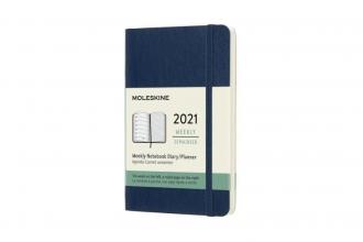 , Moleskine 12 MND Agenda - 2021 - Wekelijks - Pocket (9x14 cm) - Sapphire Blauw - Zachte Kaft