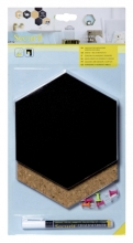 , Krijt+ prikbord Securit Hexagon set 7 stuks zwart + 1 marker