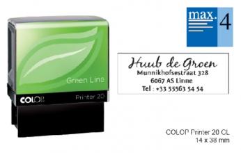 , Tekststempel Colop 20 green line+bon 4regels 38x14mm