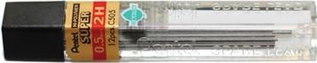 , Potloodstift Pentel 0.5mm zwart per koker 2H