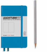 Lt346692 , Leuchtturm pocket notitieboek 90x150 blanco azuurblauw