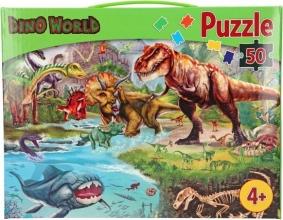 , Puzzel dino world  - 50 stukjes - 58 x 40 - 4+