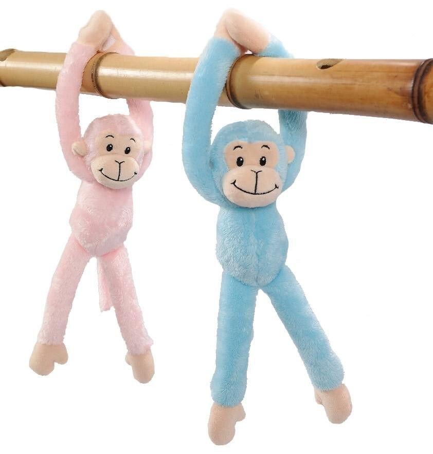 ,Knuffel pluche hangaap blauw of roze 30 cm