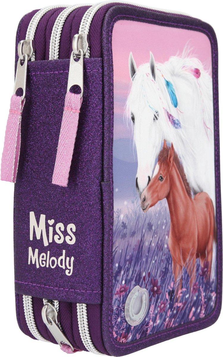 ,Miss melody 3-vaks etui led paars