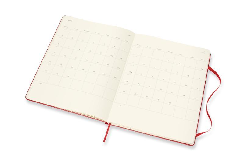 ,Moleskine 12 MND Agenda - 2021 - Wekelijks - XL (13X25 cm) - Scarlet Rood - Harde Kaft