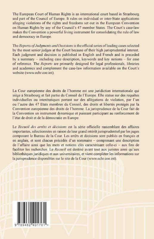 European court of human rights,Reports of judgments and decisions; Recueil des arrêts et décisionsj 2011-IV