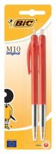 , Balpen Bic M10 rood medium blister à 2st
