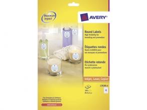 laseretiket Avery rond 63,5mm transparant 25 vel 12         etiketten per vel