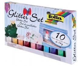 , Glitterpoeder Folia blister à 10x 14gr tube ass