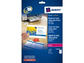 , visitekaartjes Avery 85x54mm 220gr wit 25 vel 10 kaarten    per vel