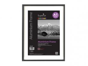 , Fotolijst Seco A1 zwartkleurig Geborsteld aluminium. 11mm