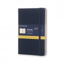 , Moleskine Two-Go Notebook Medium Gelinieerd-Blanco Oriental Blauw