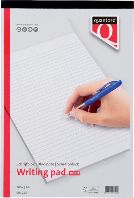 ,Schrijfblok Quantore A4 gelinieerd