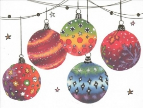 Festive Ornaments Deluxe Holiday Cards