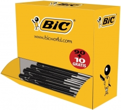 , Balpen Bic M10 zwart medium doos 90+10 gratis