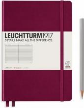 Lt359691 , Leuchtturm notitieboek medium 145x210 lijn port red wijnrood