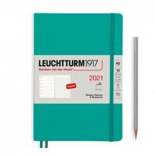Lt361938 , Leuchtturm agenda 2021 paperback a5 soft  l. ag. r. not emerald green