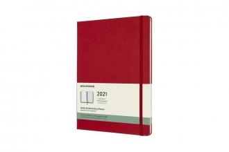 , Moleskine 12 MND Agenda - 2021 - Wekelijks - XL (13X25 cm) - Scarlet Rood - Harde Kaft