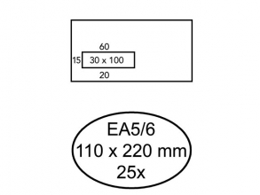 , Envelop Quantore 110x220mm venster 3x10cm links zelfkl 25st
