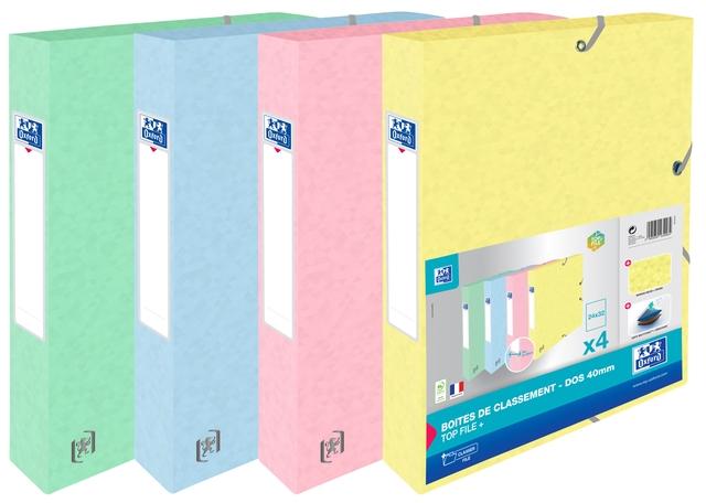 ,Elastobox Oxford Top File+ A4 40mm pastel assorti