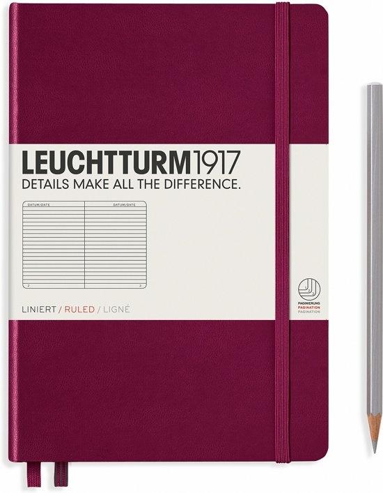Lt359691,Leuchtturm notitieboek medium 145x210 lijn port red wijnrood