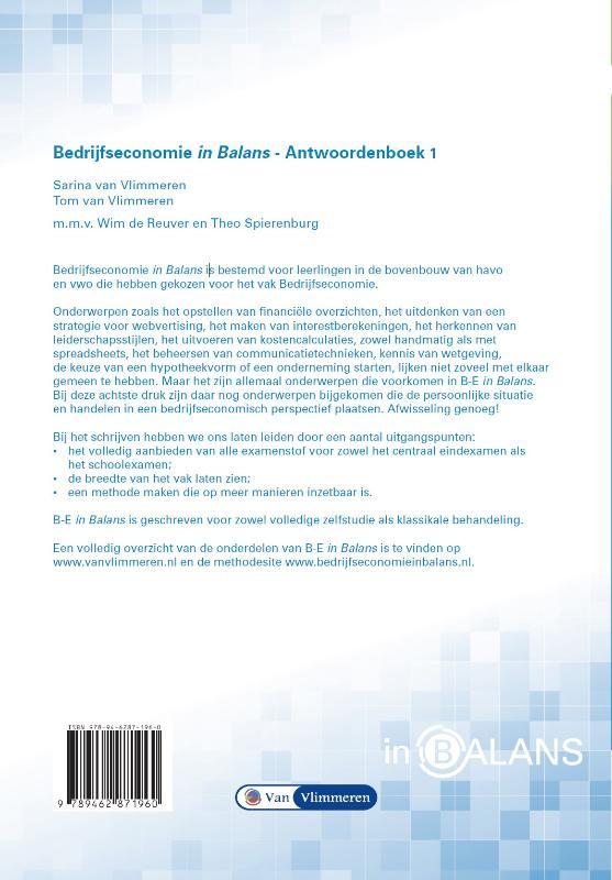 Sarina van Vlimmeren, Tom van Vlimmeren,Bedrijfseconomie in Balans Havo Antwoordenboek 1