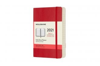 , Moleskine 12 MND Agenda - 2021 - Dagelijks - Pocket (9x14 cm) - Scarlet Rood - Zachte Kaft