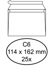 , Envelop Quantore bank C6 114x162mm zelfklevend wit 25stuks