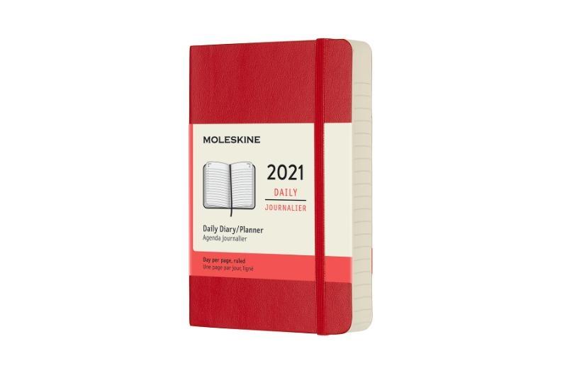 ,Moleskine 12 MND Agenda - 2021 - Dagelijks - Pocket (9x14 cm) - Scarlet Rood - Zachte Kaft