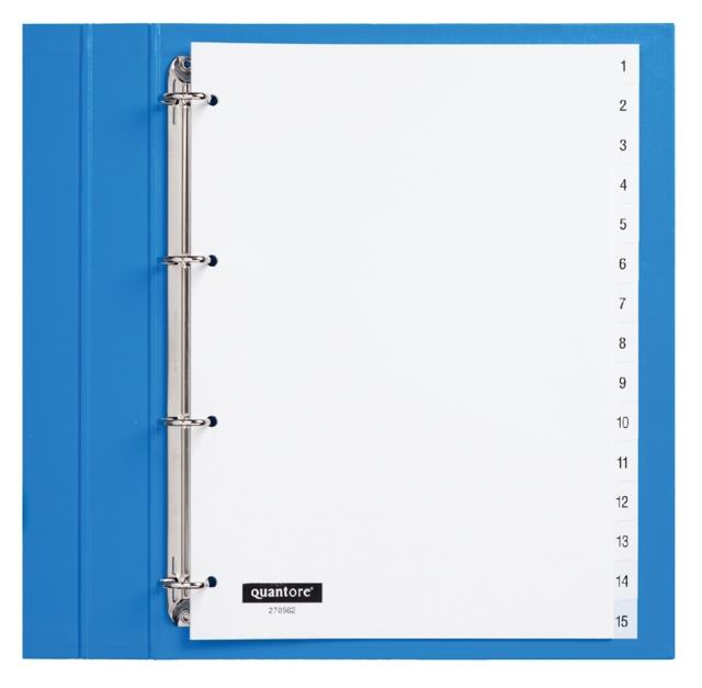 ,Tabbladen Quantore 4-gaats 1-15 genummerd wit PP