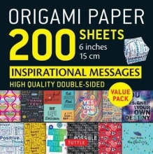 Tuttle Publishing Origami Paper 200 sheets Inspirational Messages 6 inch (15 cm)