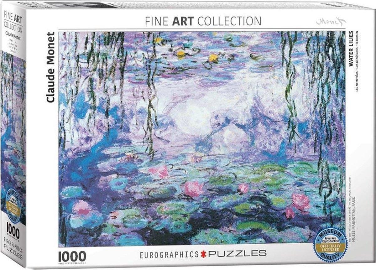 Eur-6000-4366,Puzzel eurographics waterlilies claude monet 1000 stukjes 48x68cm