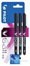 , Rollerpen PILOT V-Ball grip V5 zwart 0.3mm  blister à 3 stuks