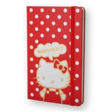 , Moleskine LE Notitieboek Hello Kitty Large (13x21 cm) Blanco Rood