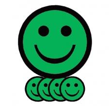 , Magneet smiley 25mm emotie blij groen