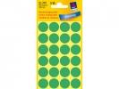 ,Etiket Avery Zweckform 3006 rond 18mm groen 96stuks