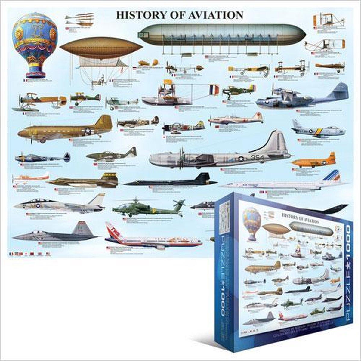 Eur-6000-0086,Puzzel history of aviation eurographics 1000 stuks