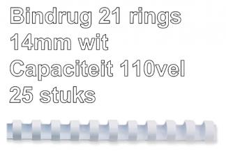, Bindrug Fellowes 14mm 21rings A4 wit 25stuks